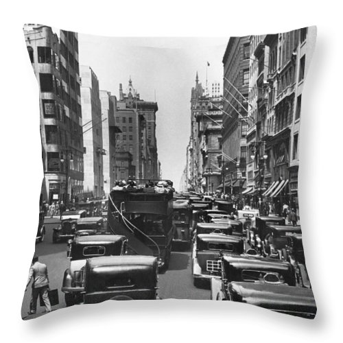 1930's Throw Pillow featuring the photograph Traffic On Fifth Avenue by Underwood Archives