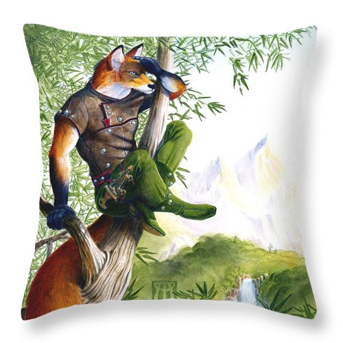 Fantasy Throw Pillow featuring the painting Trail Blazing Fox by Melissa A Benson