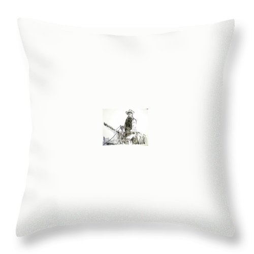 Trail Boss Throw Pillow featuring the drawing Trail Boss by Seth Weaver