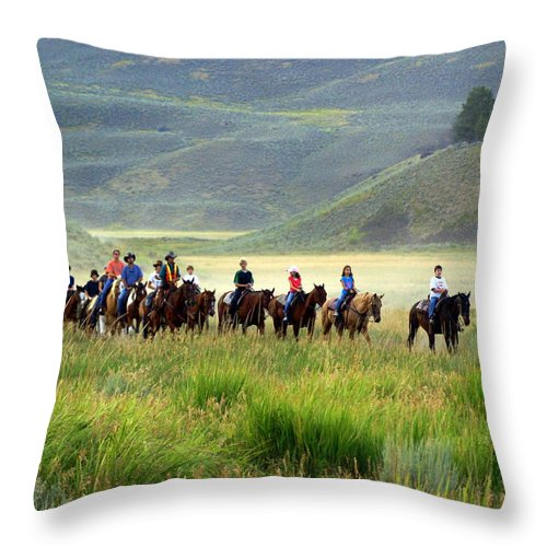 Trail Ride Throw Pillow featuring the photograph Trail Ride by Marty Koch