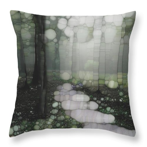 Forest Throw Pillow featuring the painting Trail Series 5 by Jack Zulli