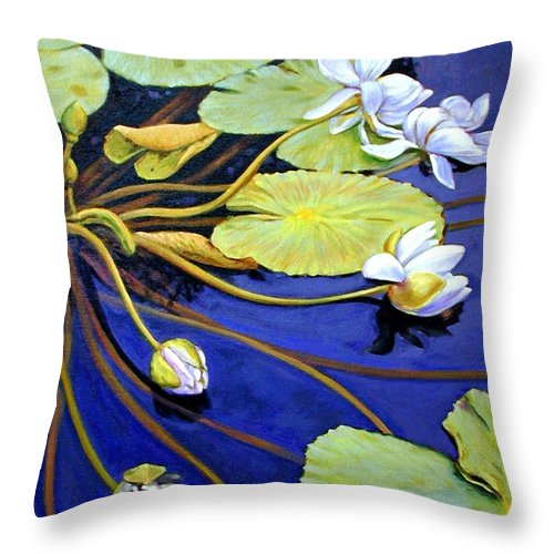 Water Lilies Throw Pillow featuring the painting Trailing Beauty by John Lautermilch