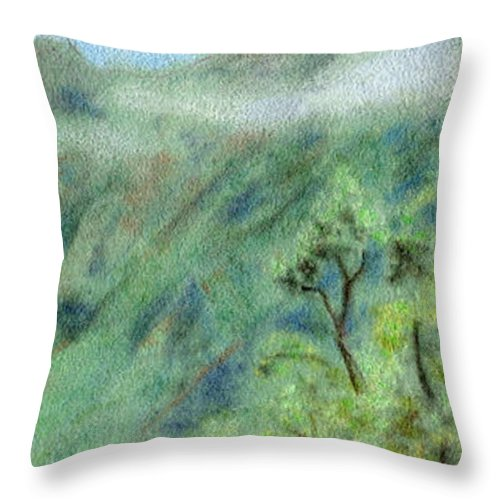 Rainbow Colors Pastel Throw Pillow featuring the painting Trail's End by Kenneth Grzesik