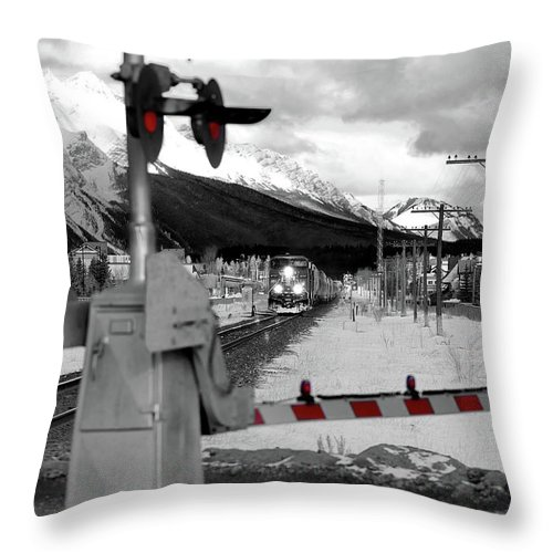 Canmore Throw Pillow featuring the photograph Train A Comin by Lisa Knechtel
