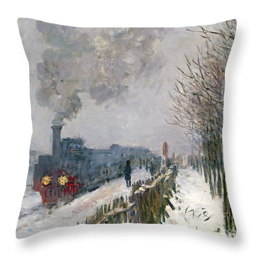 Train Throw Pillow featuring the painting Train In The Snow Or The Locomotive by Claude Monet