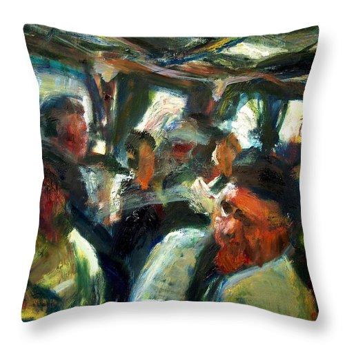 Dornberg Throw Pillow featuring the painting Train Ride by Bob Dornberg