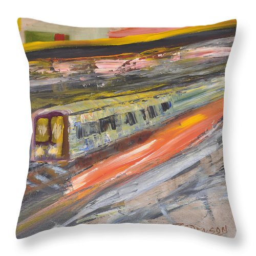 Train Throw Pillow featuring the painting Train Ride by Richard Benson