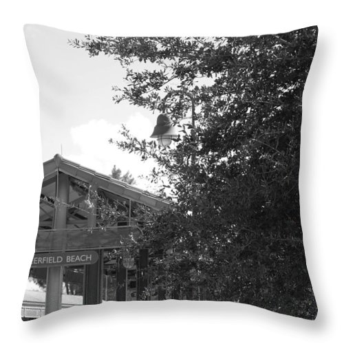 Black And White Throw Pillow featuring the photograph Train Station In Deerfield Beach by Rob Hans
