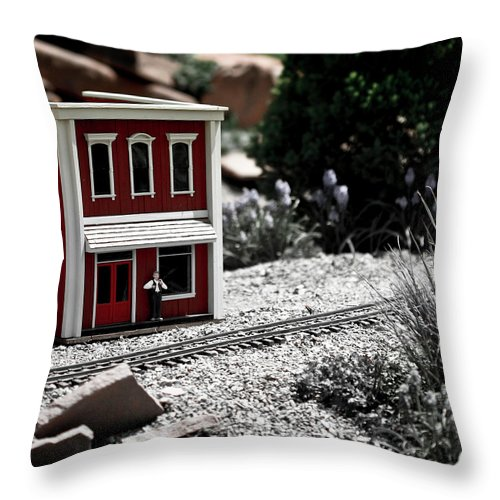 Train Throw Pillow featuring the photograph Train Station by Marilyn Hunt