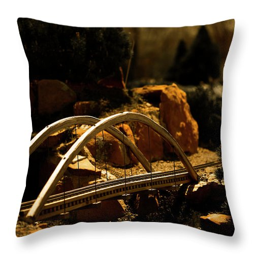 Train Throw Pillow featuring the photograph Train Trestle by Marilyn Hunt