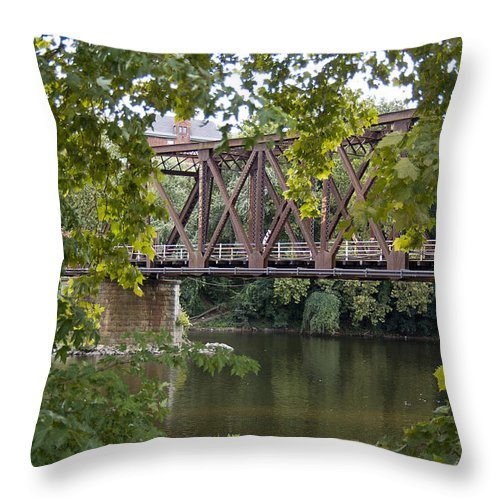 Train Trestle Throw Pillow featuring the photograph Train Trestle by Michael Dorn