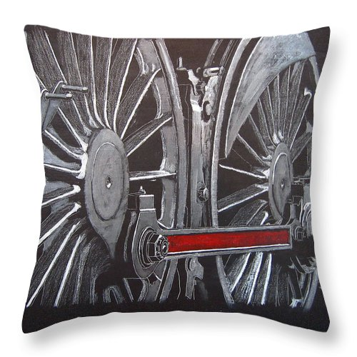 Trains Throw Pillow featuring the painting Train Wheels 1 by Richard Le Page