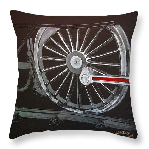 Trains Throw Pillow featuring the painting Train Wheels 2 by Richard Le Page