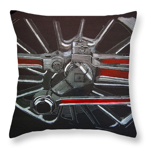 Trains Throw Pillow featuring the painting Train Wheels 3 by Richard Le Page