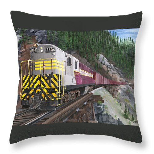 Trainmaster;myra Canyon;cp Rail:kettle Valley;trestles;landscapes;trains Throw Pillow featuring the painting Trainmaster At Myra by Glen Frear