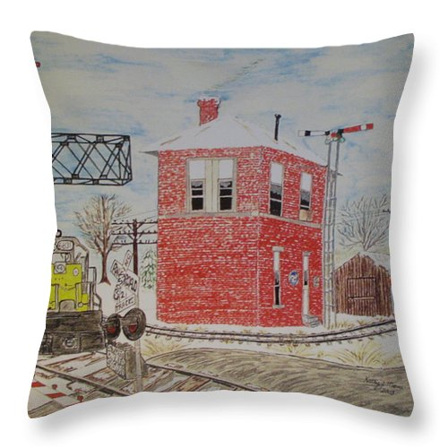 Train Throw Pillow featuring the painting Trains In Motion by Kathy Marrs Chandler