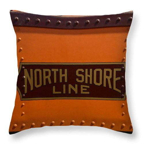 Passenger Throw Pillow featuring the mixed media Trains North Shore Line Chicago Signage by Thomas Woolworth