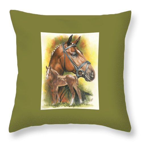Jumper Hunter Throw Pillow featuring the mixed media Trakehner by Barbara Keith