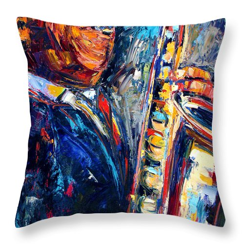John Coltrane Throw Pillow featuring the painting Trane by Debra Hurd