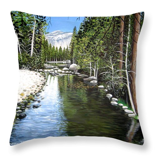 Trees Throw Pillow featuring the painting Tranquil Forest by Elizabeth Robinette Tyndall
