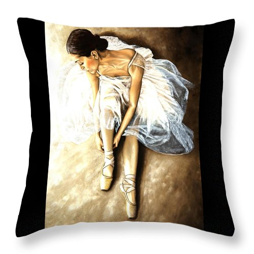 Ballet Throw Pillow featuring the painting Tranquil Preparation by Richard Young