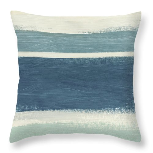 Stripes Throw Pillow featuring the painting Tranquil Stripes- Art By Linda Woods by Linda Woods