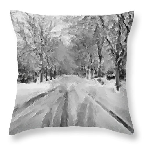 Snow Throw Pillow featuring the painting Tranquil Winter Snow Street With Car Tracks by Exclusive Canvas Art