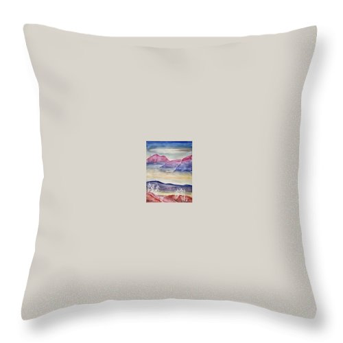 Watercolor Throw Pillow featuring the painting Tranquility 2 Mountain Modern Surreal Painting Print by Derek Mccrea