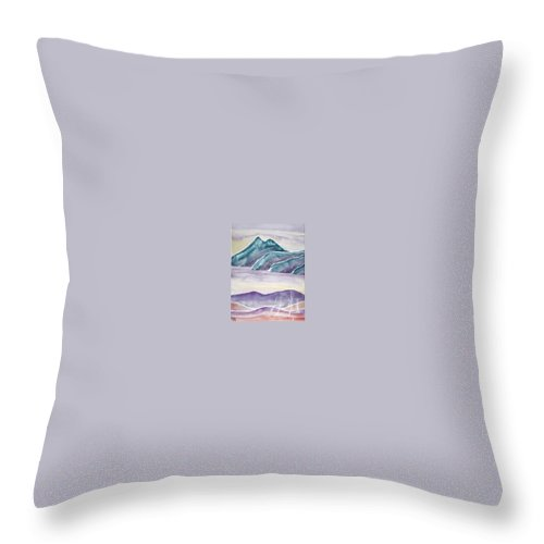 Watercolor Throw Pillow featuring the painting Tranquility Landscape Mountain Surreal Modern Fine Art Print by Derek Mccrea