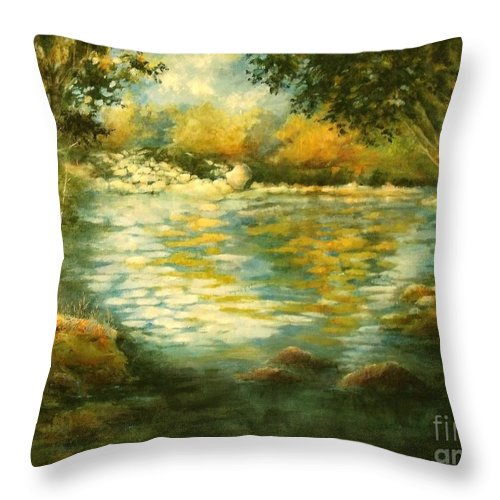 Canvas Print Landscape;river;landscape; Water; Trees; Flowing River; Rocks; Nature; Lake Throw Pillow featuring the painting Tranquility by Madeleine Holzberg