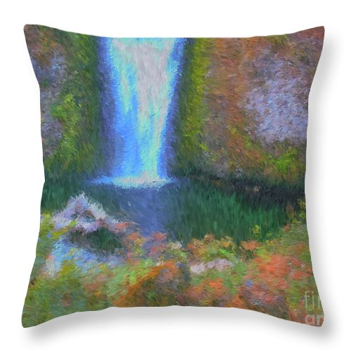 Tranquility Throw Pillow featuring the painting Tranquility by Methune Hively