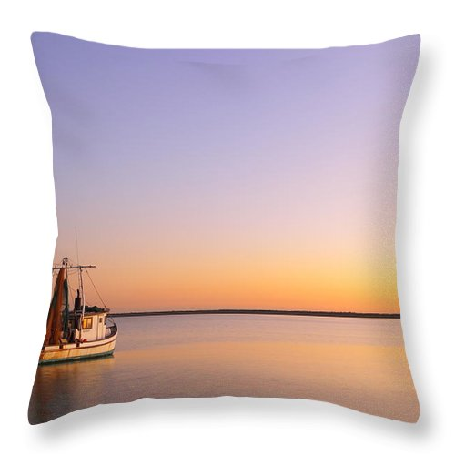 Texas City Throw Pillow featuring the photograph Shrimp Trawler At Dusk 2am-109249 by Andrew McInnes