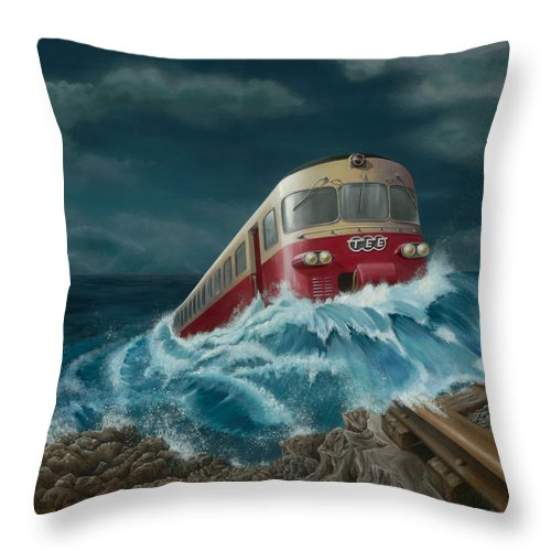 Surreal Throw Pillow featuring the painting Trans Europe Express by Patricia Van Lubeck
