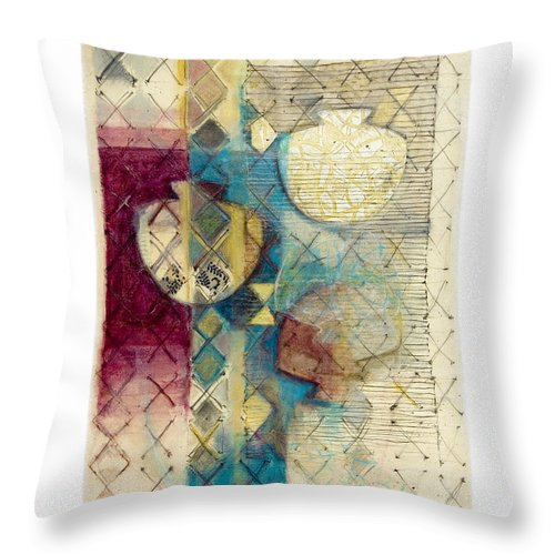 Mixed-media Throw Pillow featuring the painting Trans Xs No 1 by Kerryn Madsen- Pietsch