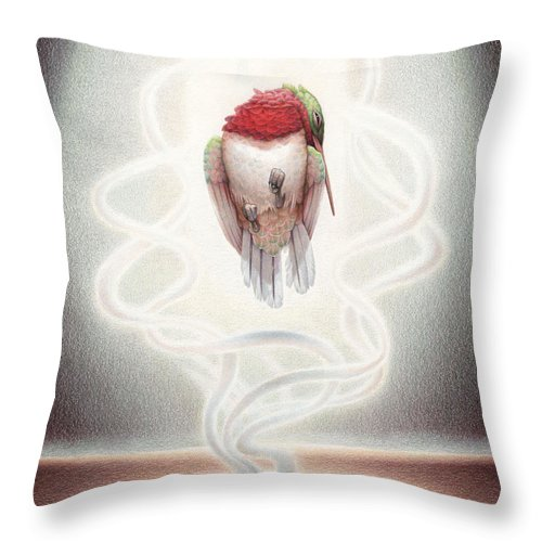 Hummingbird Throw Pillow featuring the drawing Transcendent Flight by Amy S Turner