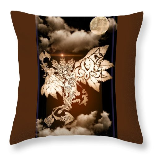 Fantasy Landscape Throw Pillow featuring the drawing Transcending Angel by Louis Williams