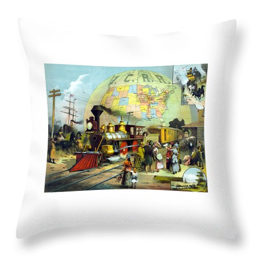 Trains Throw Pillow featuring the painting Transcontinental Railroad by War Is Hell Store