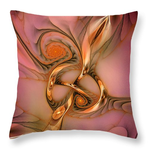 Abstract Throw Pillow featuring the digital art Transferring Affections by Casey Kotas