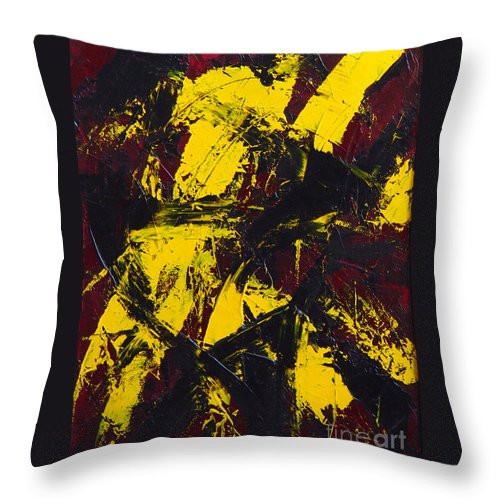 Abstract Throw Pillow featuring the painting Transitions with Yelllow and Black by Dean Triolo