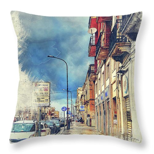 Trapani Throw Pillow featuring the painting Trapani Art 20 Sicily by Justyna JBJart