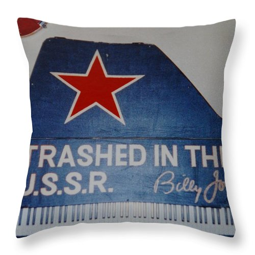 Billy Joel Throw Pillow featuring the photograph Trashed In The U S S R by Rob Hans
