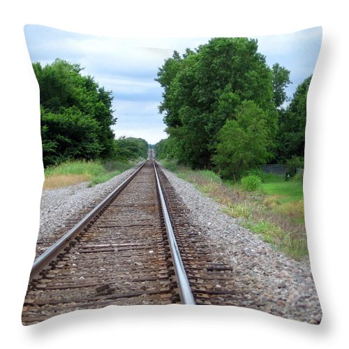Train Track Throw Pillow featuring the photograph Traveling by Amy Hosp