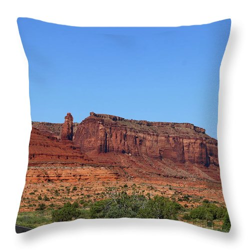 Monument Valley Throw Pillow featuring the photograph Traveling On Highway 163 by Christiane Schulze Art And Photography