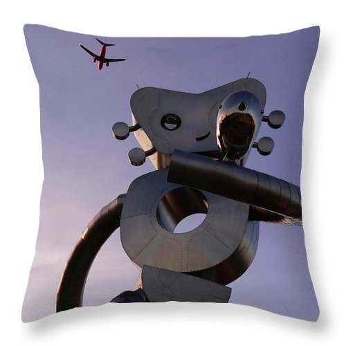 Metal Throw Pillow featuring the photograph Travelling Man by Angela Wright