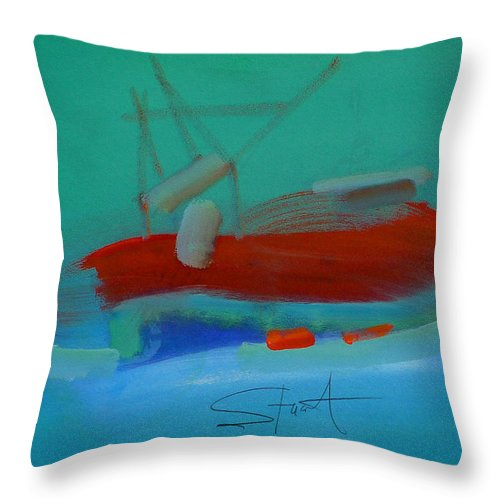Fishing Boat Throw Pillow featuring the painting Trawler by Charles Stuart