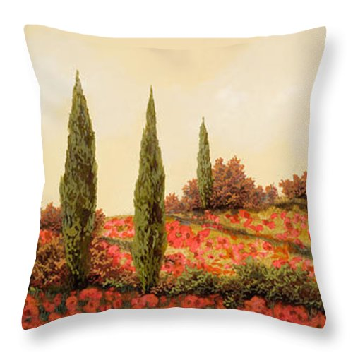 Landscape Throw Pillow featuring the painting Tre Case Tra I Papaveri Rossi by Guido Borelli