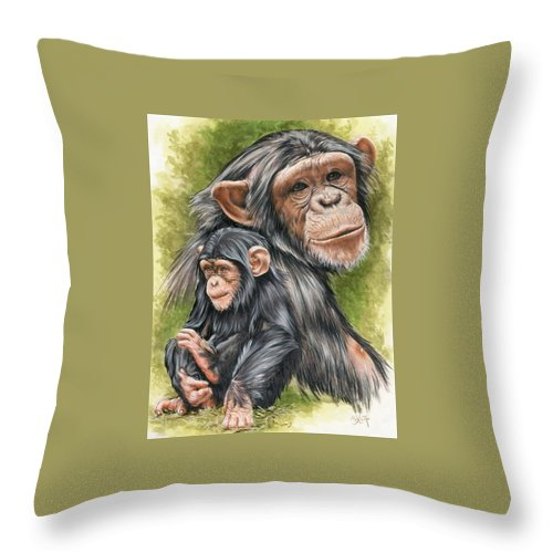 Chimpanzee Throw Pillow featuring the mixed media Treasure by Barbara Keith