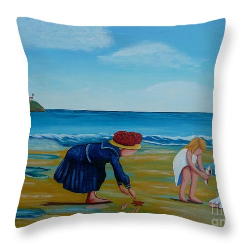 Girls Throw Pillow featuring the painting Treasure Hunting by Anthony Dunphy