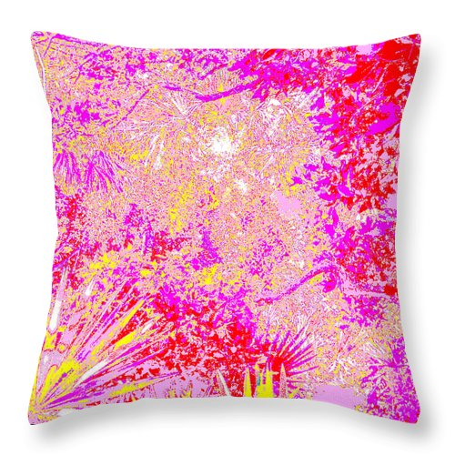 Square Throw Pillow featuring the digital art Treasure Shores Parking Lot Vision by Eikoni Images