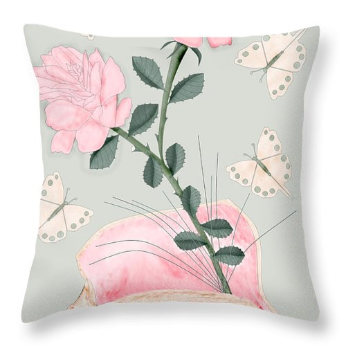 Conch Shell Throw Pillow featuring the painting Treasures by Anne Norskog
